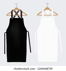 White and black aprons, apron mockup, clean apron. Vector illustration
