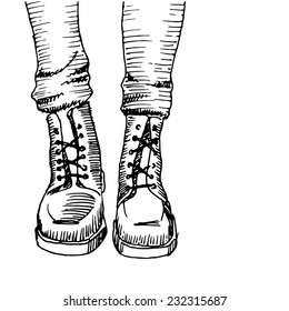 White / black army boots sketch, vector