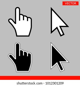 White and black arrow cursors and hand cursors icons signs vector illustration