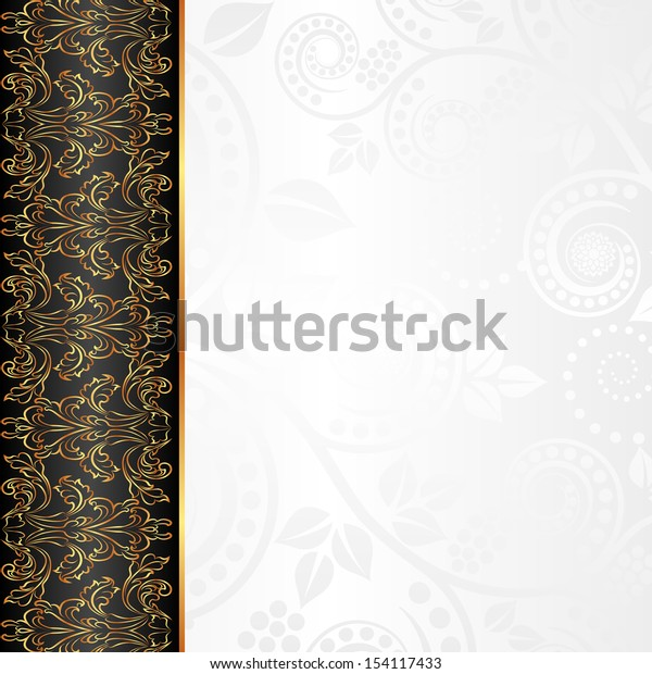 white and black background with floral ornaments