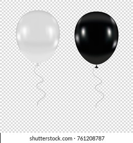 white and black  balloons on a transparent background