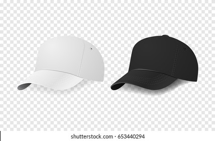 White and black baseball cap icon set. Design template closeup in vector. Mock-up for branding and advertise isolated on transparent background.