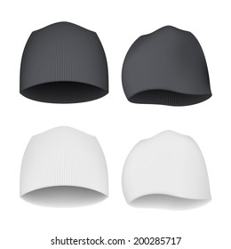 White and Black Beanie - front and side views