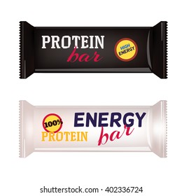 White and Black Blank Food Packaging For Biscuit, Wafer, Crackers, Sweets, Chocolate Bar, Candy Bar, Snacks . Design Template. Isolated On White Background. Package Mock-up.