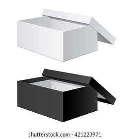 White and Black blank Package Box Opened with the cover removed. For shoes, electronic device and other products. Vector illustration