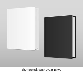 White and black books Mockup. Vector realistic empty Template. Standing closed books with hardcover. Magazine, album, catalog. 3d vector illustration. EPS10.
