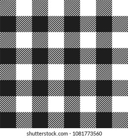 White and Black Buffalo Check Plaid Seamless Pattern - Classic style white and black buffalo check flannel plaid seamless pattern