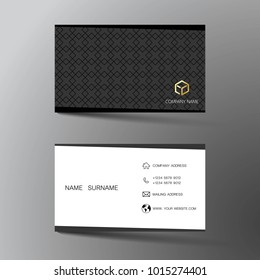 White and black business card template design. With inspiration from the abstract. Two sided on the gray background. Vector illustration.
