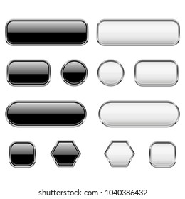 White and black buttons. Glass 3d icons with chrome frame. Vector illustration isolated on white background
