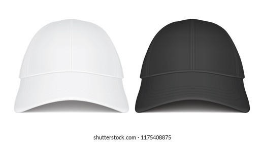 white and black caps on white background front view vector