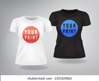 White and black casual woman T-shirts with short sleeves mock up, place for print, red and blue logo prints on t-shirt, template, isolated, vector illustration