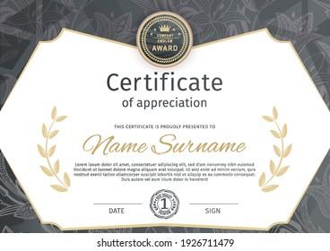 White black certificate and modern pattern design elements. Business modern design. Vector illustration