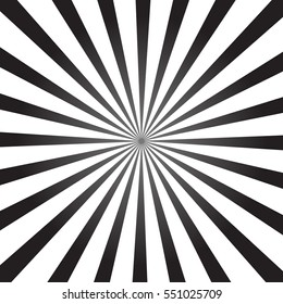 White and black color burst background. Rays background in retro style.  Vector illustration.