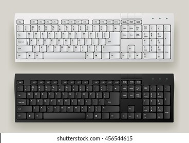 White and Black computer keyboards. Vector illustration