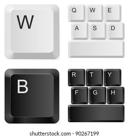 White and black computer keys. Illustration on white background