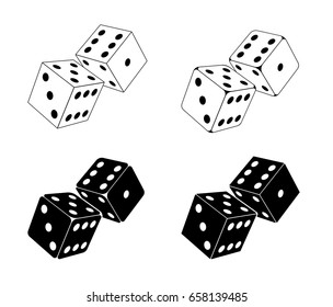 White and black dices icons