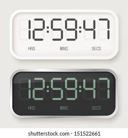 White & black digital watch
