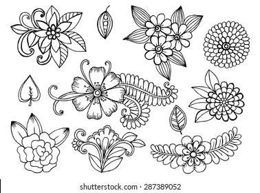 White and black doodle floral set. Design elements for your ideas