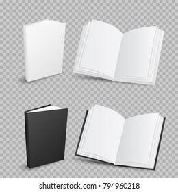 White and black empty template closed and opened books collection with shadow on transparent background. School education object