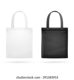 White and Black Fabric Cloth Bag Tote. Vector illustration