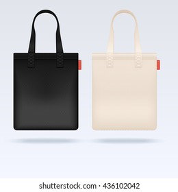 White and black fabric cloth tote bags vector mockup. Realistic illustration bag, mockup of shopping bag