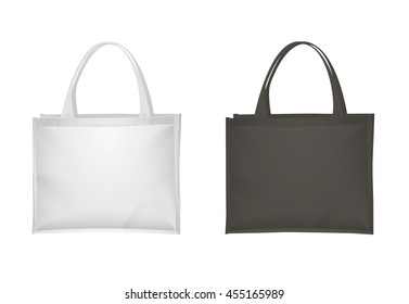 White and black fabric tote bags set, isolated on white background, vector illustration. Realistic cloth bag, mockup of shopping bag
