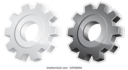 White and black gears, isolated object on white background, vector illustration