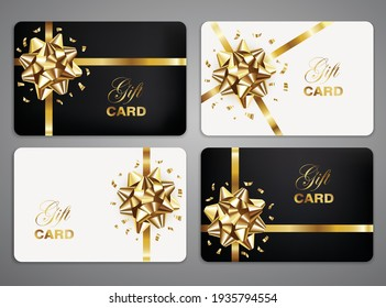 White and black gift cards with golden bow and confetti. Greeting card templates set. Vector illustration.