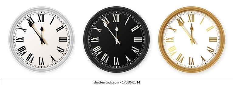 White and black gold wall office clock icon set. Design template closeup in vector. Mockup for branding and advertising isolated on white background. Vector illusration EPS 10