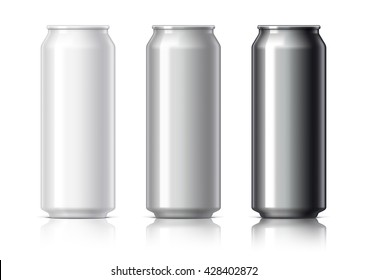 white black and gray aluminum cans for beer and soft drinks or energy. Packaging 500 ml. Object, shadow, and reflection on separate layers. Vector illustration