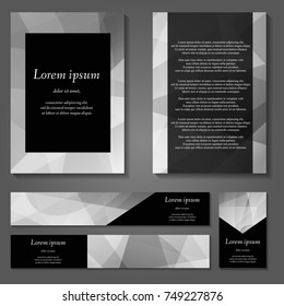 White, black and gray vector covers set. Future geometric line design set. Abstract gradient pattern background. Eps10. Can be use for journal, composition, cover, book, certificate, card, flyer