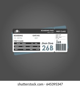 White and black and grey boarding pass. Airline boarding pass ticket for traveling by plane. concept of travel, journey or business with bar code. Vector illustration