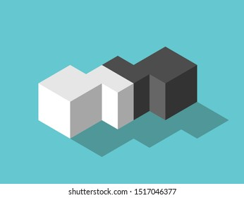 White and black isometric cubes and mediator in between. Mediation, diplomacy, merger, management, flexibility and EQ concept. Flat design. Vector illustration, no transparency, no gradients