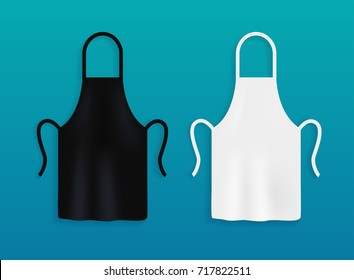 White and black kitchen aprons. Chef uniform for cooking.