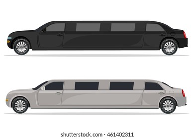 white and black limousine, design element, flat, vector illustration