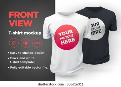 White and Black men's t-shirt realistic mockup. Vector illustration