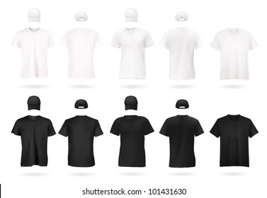 White and black men's t-shirt template.