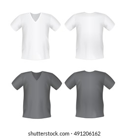 71fdf5a9329e White black men's or unisex t-shirt short front and back views vector  mockups.