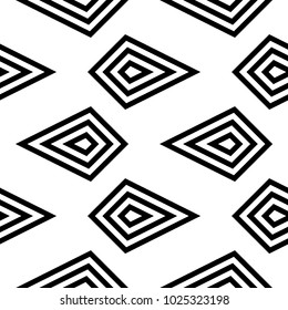White and black monochrome geometric print. Seamless pattern for web, textile and wallpapers