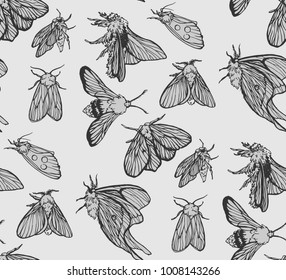 white and black moth seamless pattern
