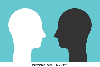 Weiße und schwarze Gegenkopfsilhouetten, die sich gegenseitig anschauen. Psychologie, psychische Gesundheit, Konflikt und Gegensätze Konzept. Flaches Design. EPS 8 Vektorgrafik, keine Transparenz, keine Farbverläufe