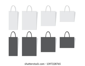 white and black paper bag on white background vector mock up