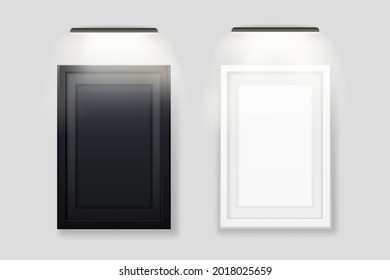 White and black photo frame backlit template. Empty realistic banner with led lamp on top advertising wooden rectangle for images and vector interior.