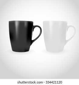 White and Black Photorealistic Cup illustration for mock-ups and branding.