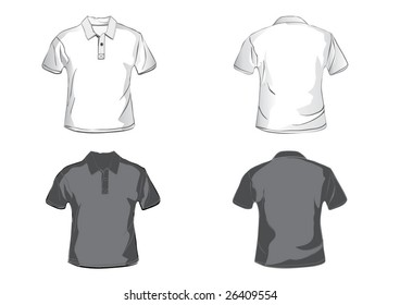 White and black polo shirt design template with front and back.