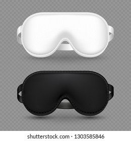 WHITE AND BLACK REALISTIC SLEEPING MASK vector isolated on transparent background