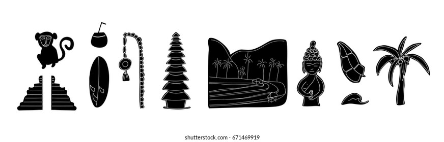 White and Black set of Bali. Set of traditional cultural symbols, cuisine, architecture. Collection of vector illustrations for the guidebook. Flat icons .Isolated vector illustration. Sticker