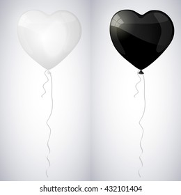 White and black shiny glossy balloons in the form of heart. Vector illustration.