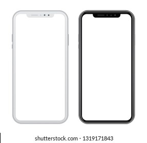 White and black smart phones in front side on white background. Vector illustration, for graphic and web design