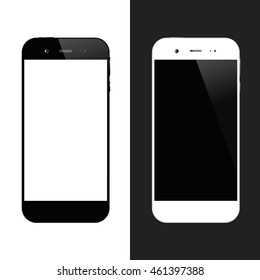 White and black smartphones. Cellphone isolated. Mobile phone vector illustration